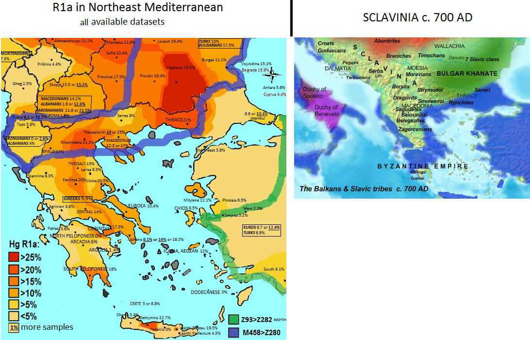 Haplogroup R1a in Greece in 2017 and Slavic tribes in 700 AD | R1a