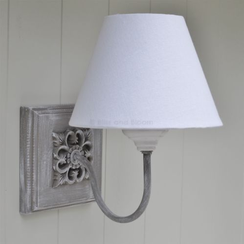 Grey wooden wall light with white shade vintage french style ori4090 aloadofball Choice Image