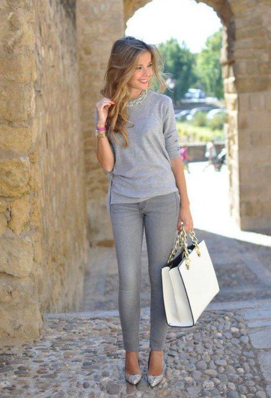 outstanding outfit oficina gris de