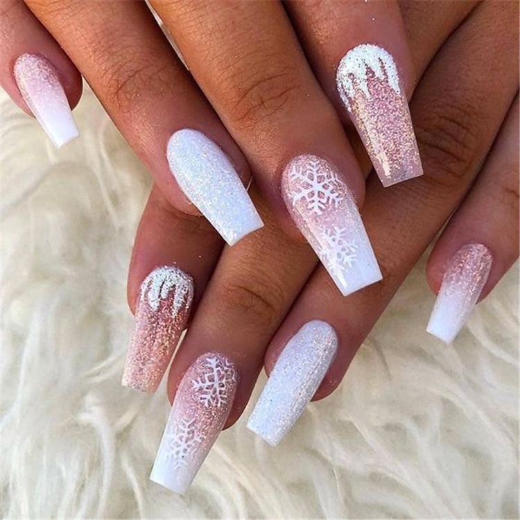 Stylish Winter Acrylic Coffin Nail Designs To Copy Right Now Winter Nails Winter Acrylic Nails Winter Nails Acrylic Coffin Nails Designs Pink Acrylic Nails