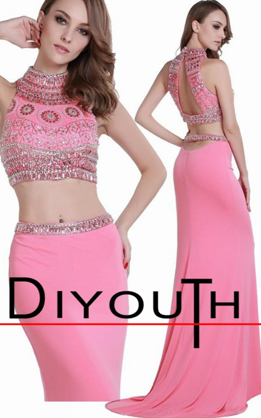 Diyouth high neck beaded corset long mermaid two piece prom