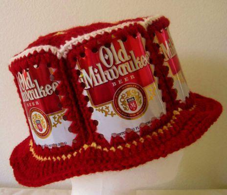 Crocheted Beer Can Hat Old Milwaukee | Crochet | Pinterest