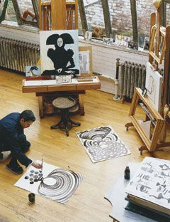 Ruben Toledo Painting In His Studio