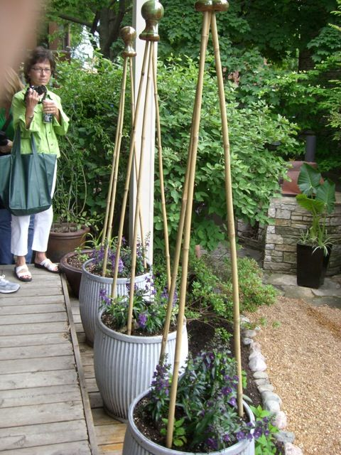 Simple Trellis Ideas Part - 41: Love This Simple Trellis Idea From Chef Rick Baylessu0027 Garden. Bamboo Poles  Topped With A Painted Finial. | I Could Do That! | Pinterest | Trellis Ideas  ...