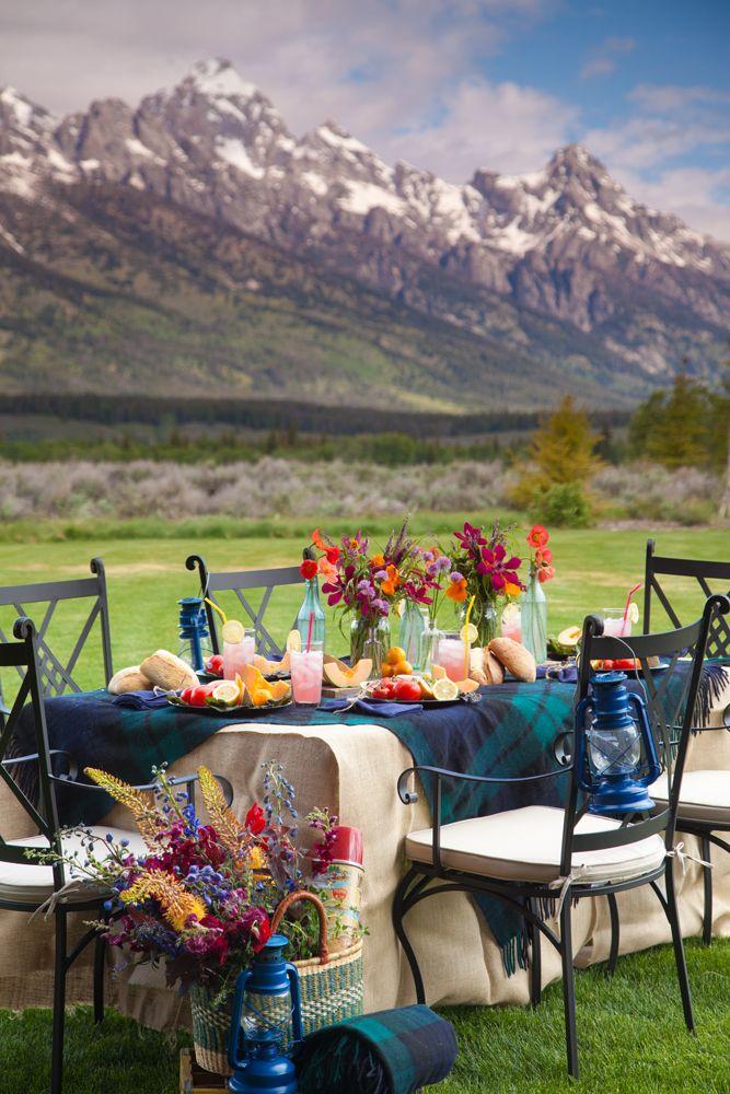 Location, location, location outdoors table setting tartan rug tablecloths