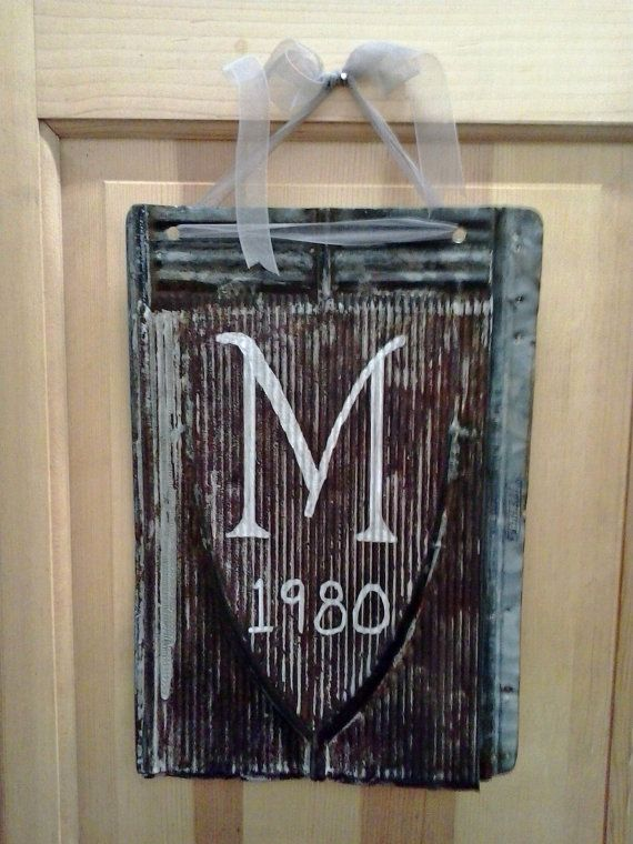 Vintage Rusty Tin Roof Shingle Re Purposed Into Monogram