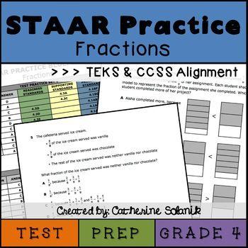 4th Grade Math STAAR Test Prep Fractions TEKS 4 3A 4 3B