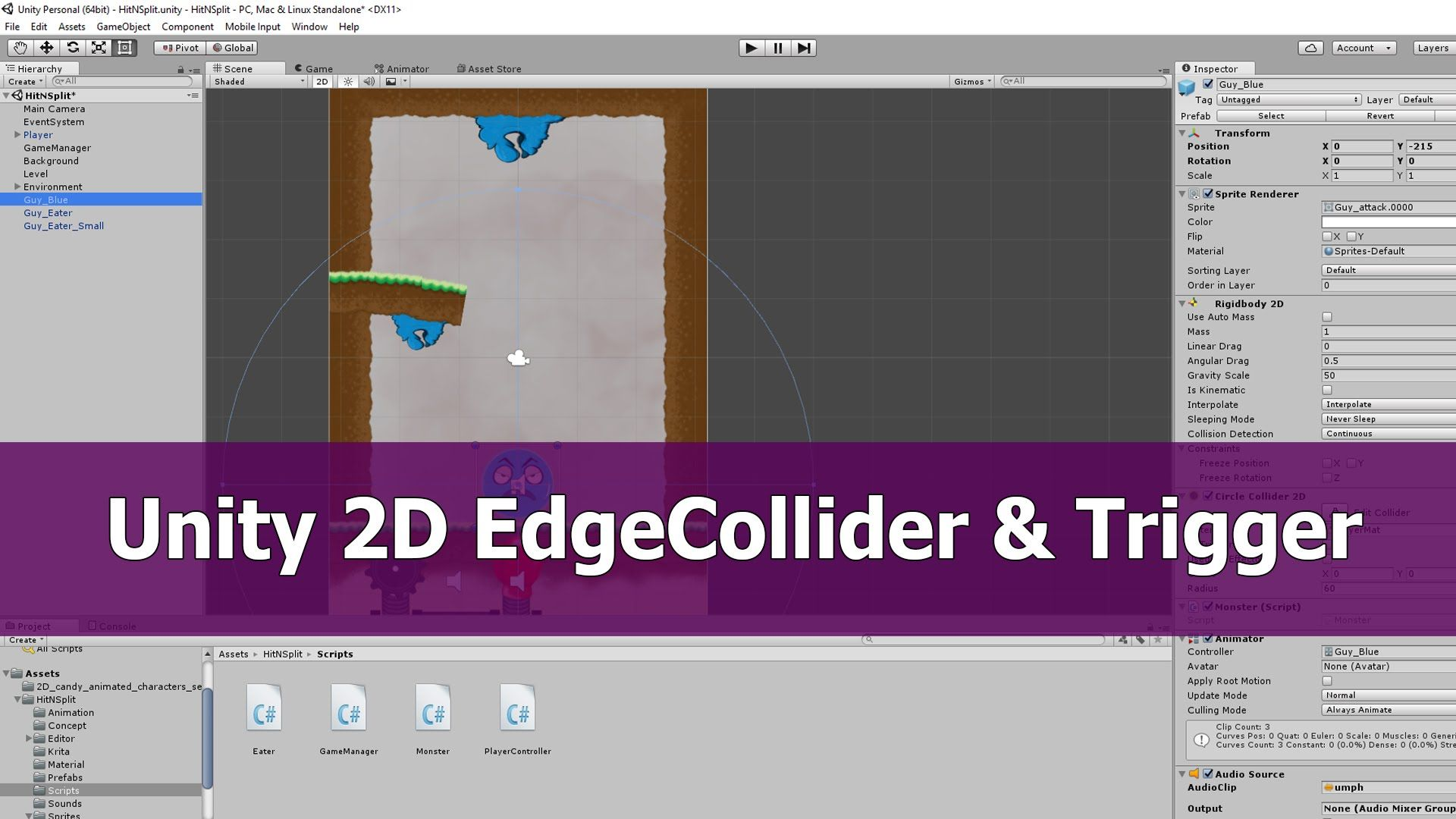 Unity 2D Sprite animation: Edge Collider 2D and Trigger