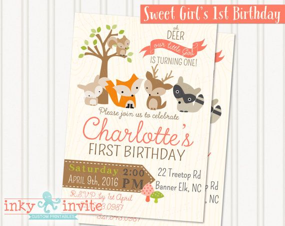 Little Girls Woodland 1st Birthday Party Invitation – Little Girl Party Invitations