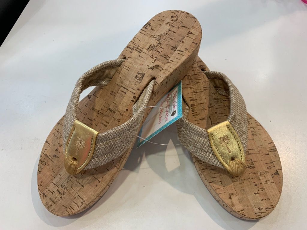 Ribbon Heritage Rose Sandal On Cork Sole From Ocean Palm