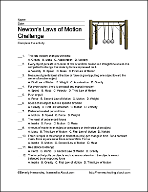 Newton's Laws Of Motion Worksheet 5th Grade – careless.me