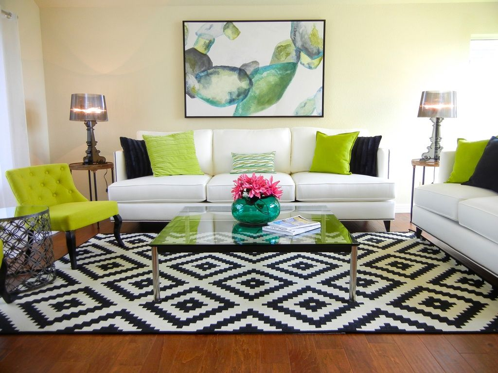Transitional Living Room with Ikea Lappljung Ruta Rug 9 ...