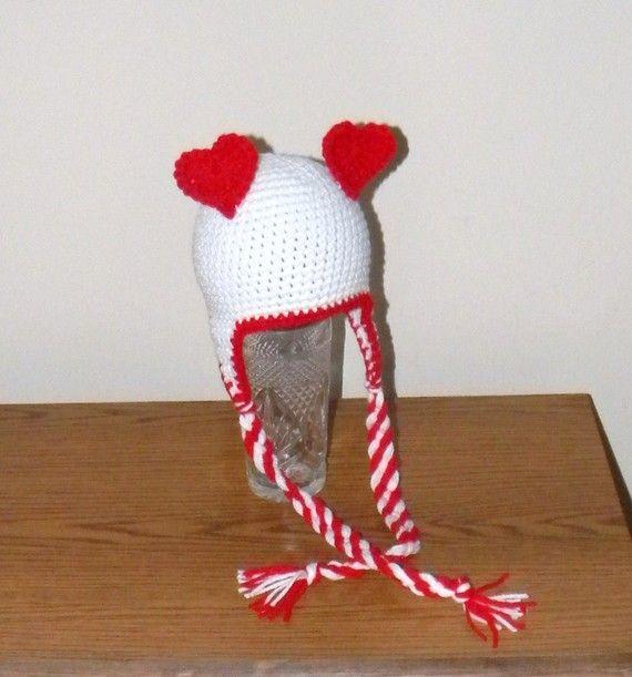 Crochet Pattern 011 Heart Ears Earflap Beanie Hat Crochet