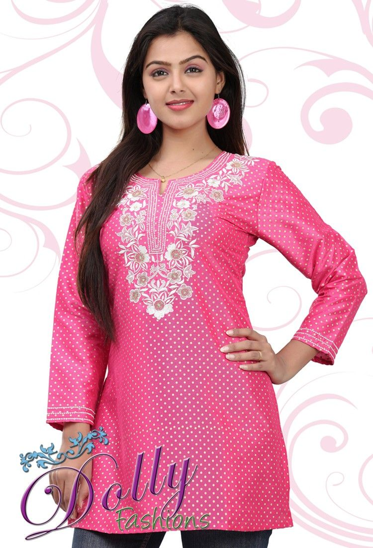 17bee1a297e0f3 Bright Pink Cotton Embroidered Kurti/ Indian Tunic Top | Cotton ...