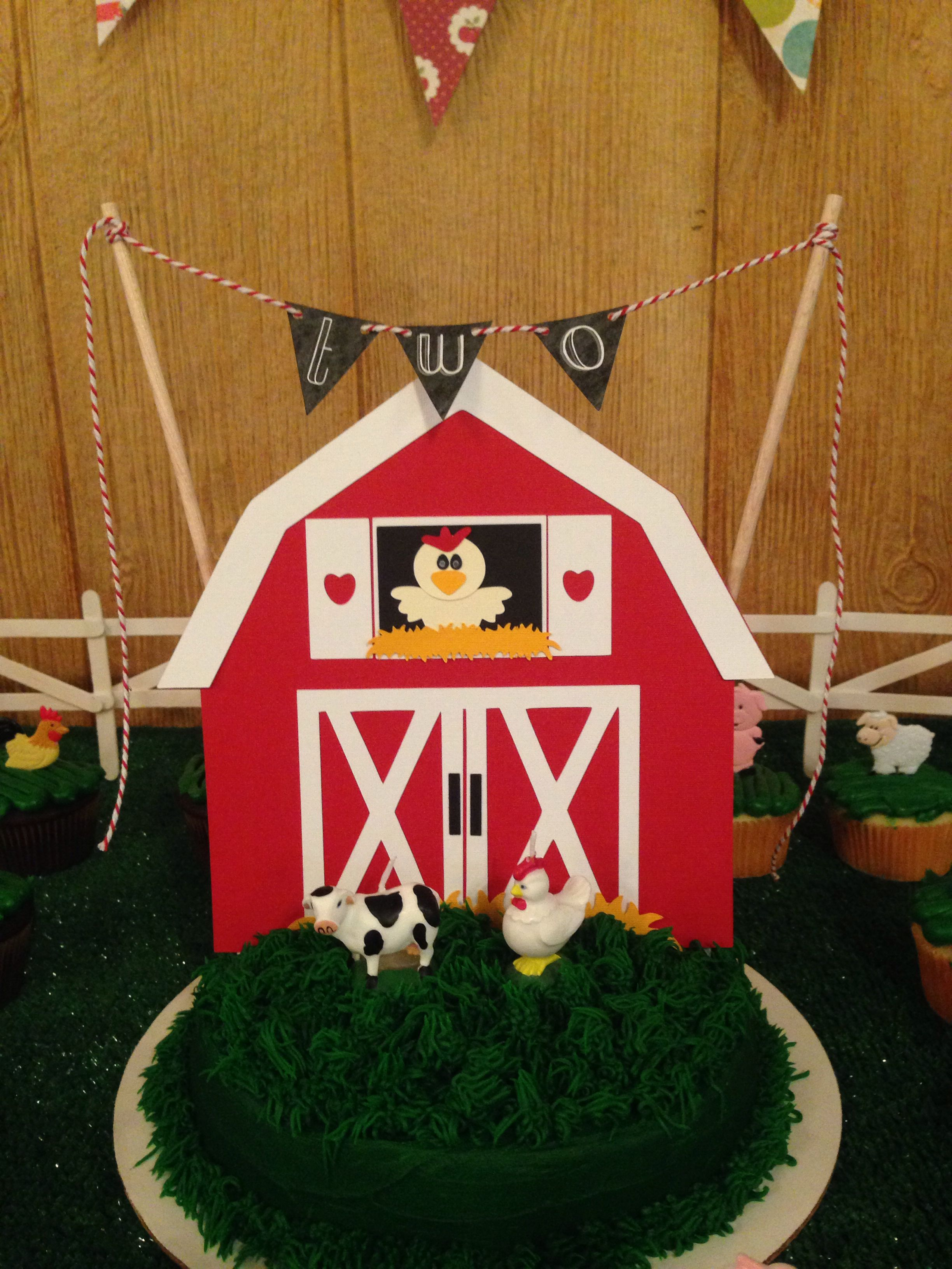 Barn cake topper for birthday cake