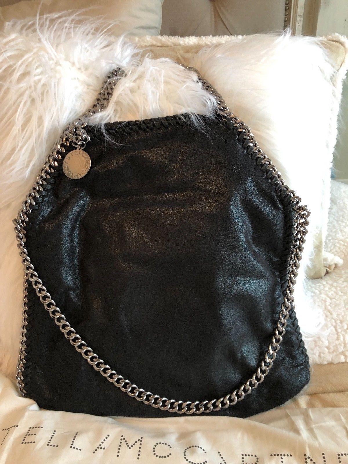 4440641fe5e6 STELLA MCCARTNEY Falabella Shaggy Deer Faux Leather Foldover Black Tote  Handbag  blacktotehandbags