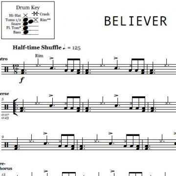 نتيجة بحث الصور عن Drum Sheet Music For Believer Imagine Dragons
