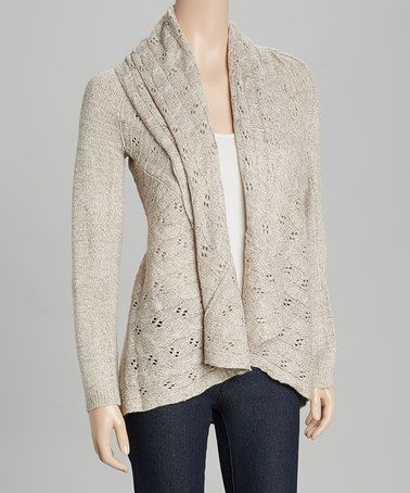 This Beige Crochet Shawl Collar Open Cardigan by By Design is perfect! #zulilyfinds