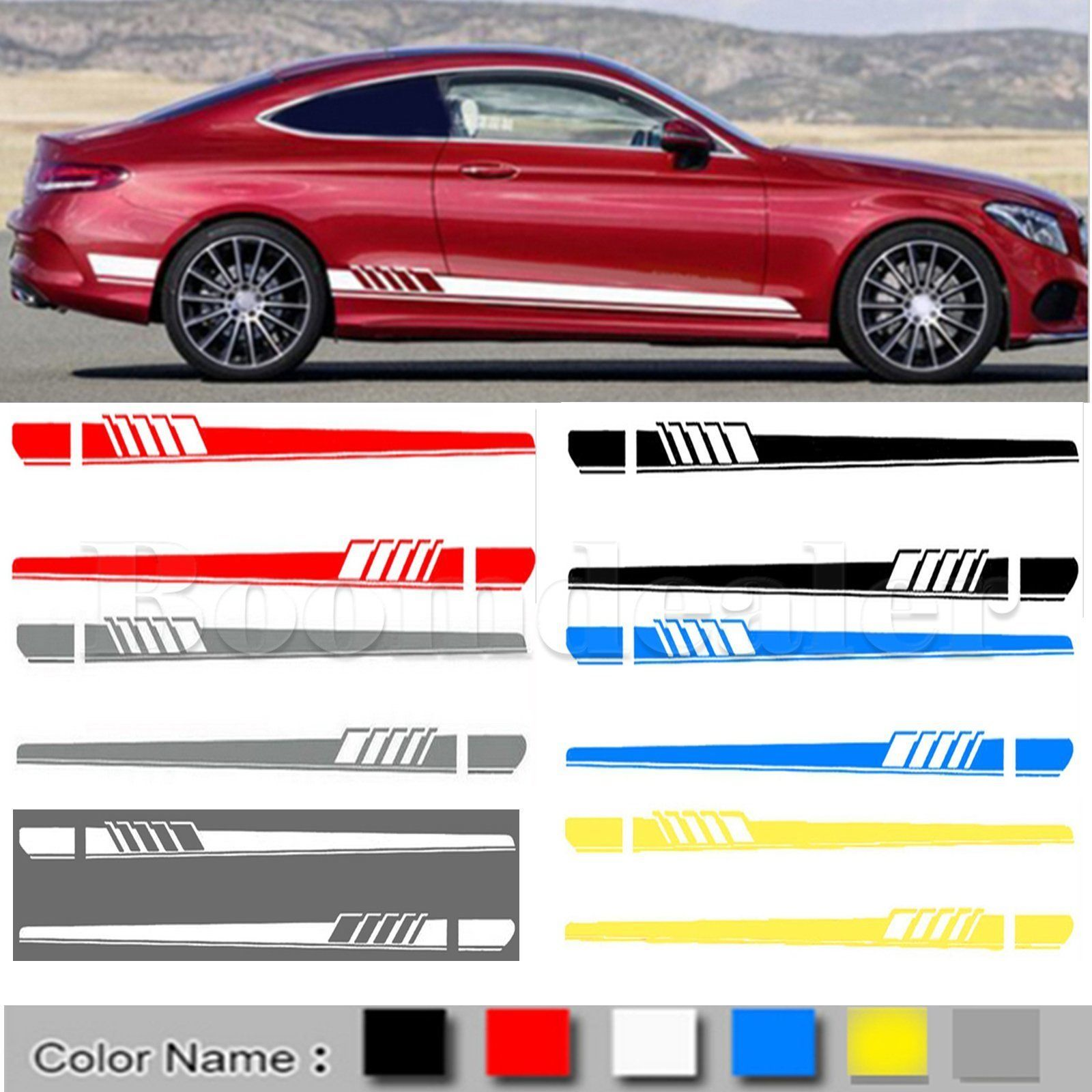 2pcs Racing Car Body Stripe Stickers Side Decals Skirt Vinyl For Mercedes Benz C Stiker Modifikasi Mobil Mobil