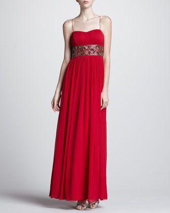 Bead-Waist Chiffon Gown by Aidan Mattox at Neiman Marcus.
