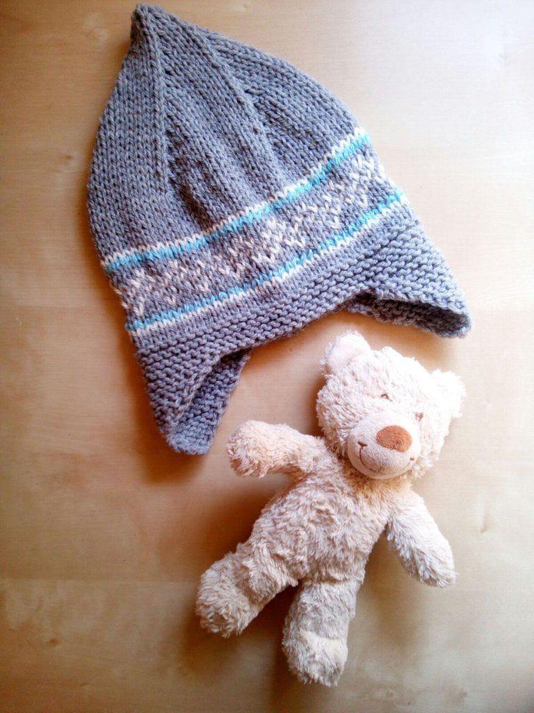 berretto cappello lana neonato bambino con paraorecchie fatto a mano grigio  e azzurro - c20880d2c52a