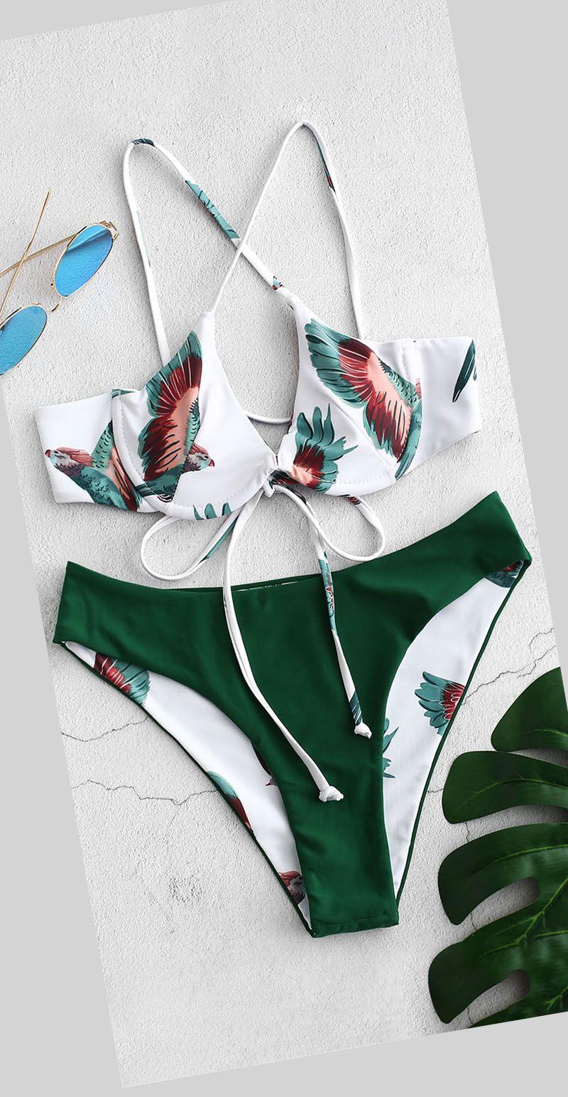 Reversible Bird Lace Up Bikini Set swimsuit