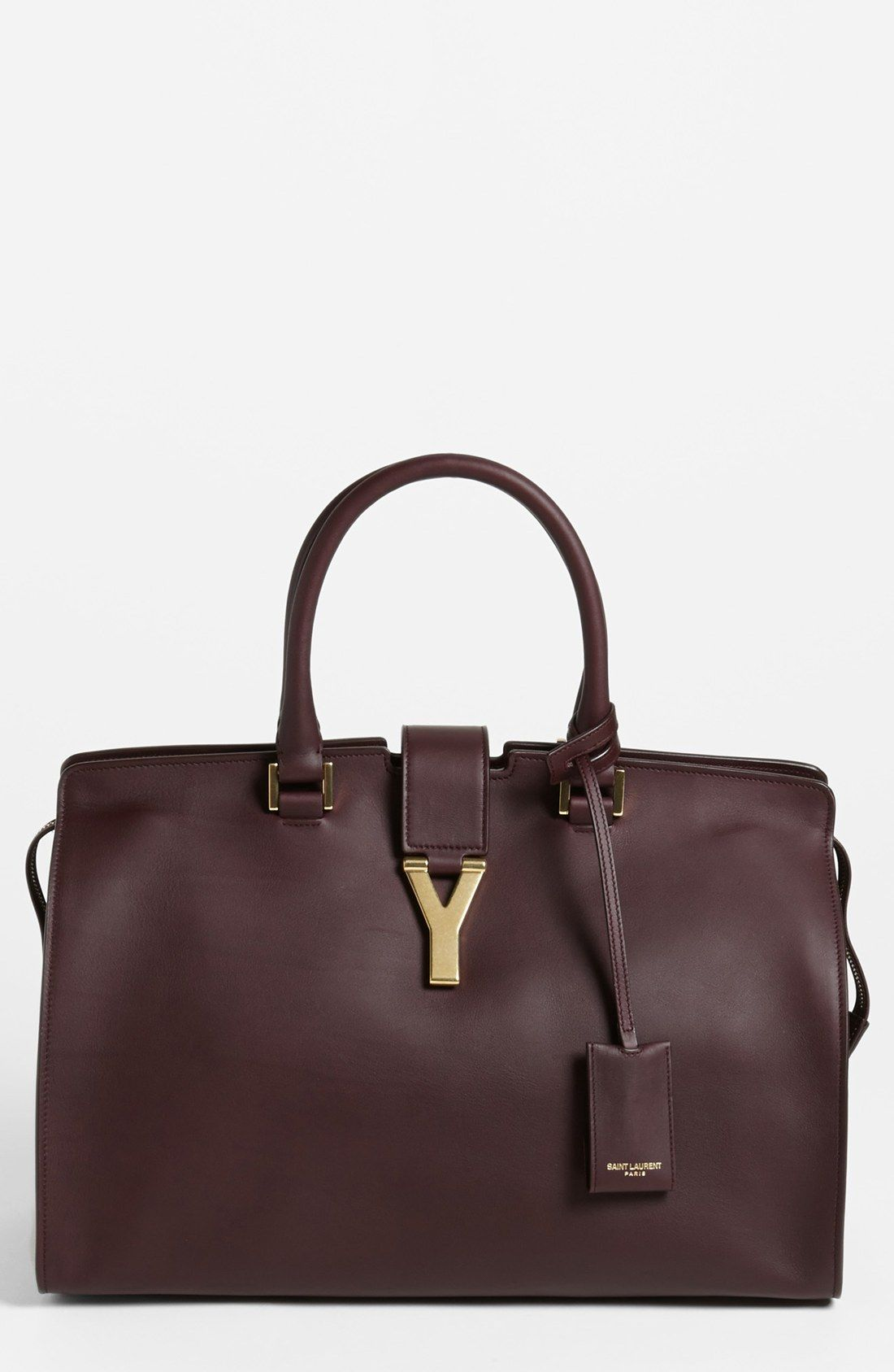 59f052c16c98e Plum Eggplant Bordeaux YSL Saint Laurent Ligne Y Leather Satchel - gorgeous  designer handbag