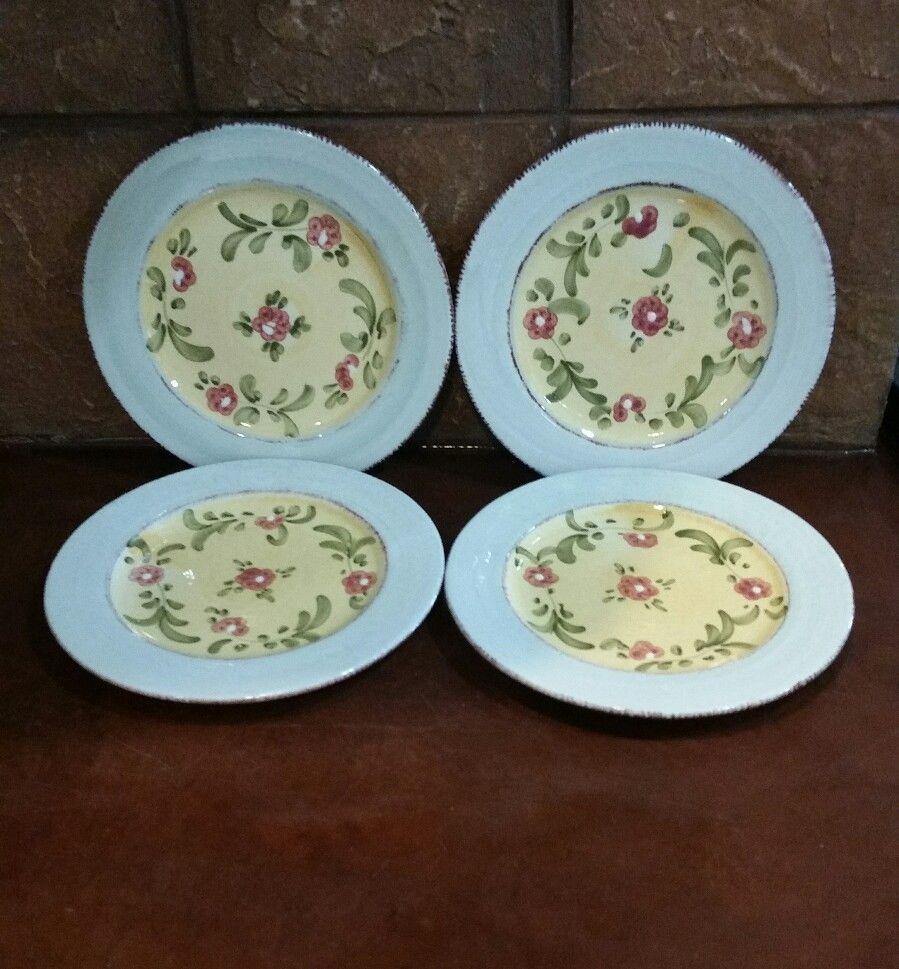 4 Home Bizzirri Mara Italy Yellow Hand Painted Floral Pottery Salad Plates #HomeBizzirri & 4 Home Bizzirri Mara Italy Yellow Hand Painted Floral Pottery Salad ...