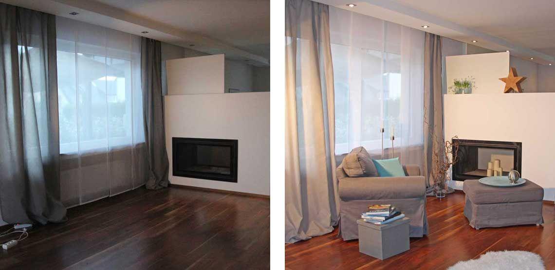– Leerstehende Immobilien - Home Staging einer Kamin-Lese-Ecke vor dem Staging und nach dem Staging