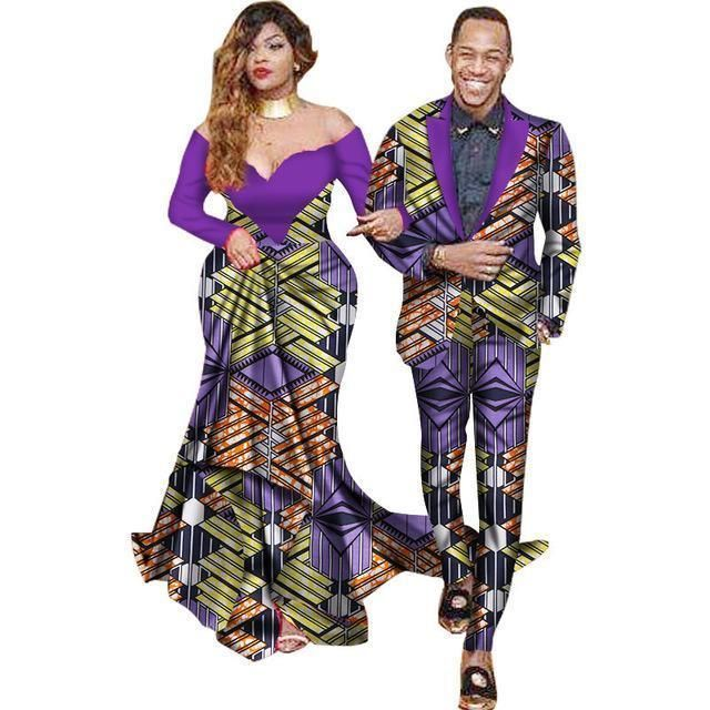 African Suits Men Women Suits Dashiki Kitenge Couple Suits