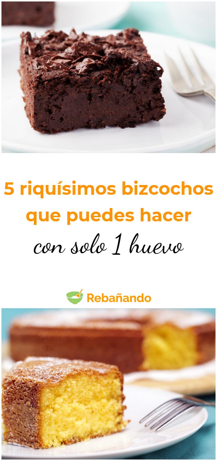 5 Riquísimos Bizcochos Que Puedes Hacer Con Solo 1 Huevo Recetas De Torta Esponjosa Postres Caseros Tortas