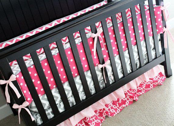Custom Crib Bedding Hot Pink Light And Grey By Gigglesixbaby