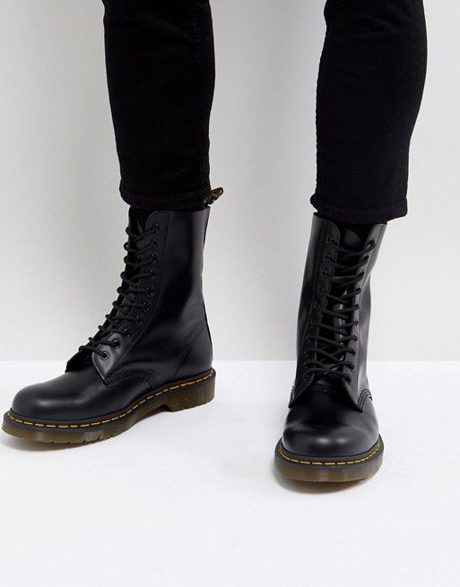 Dr Martens | Dr Martens 1490 10 Eye Boots In Black in 2019
