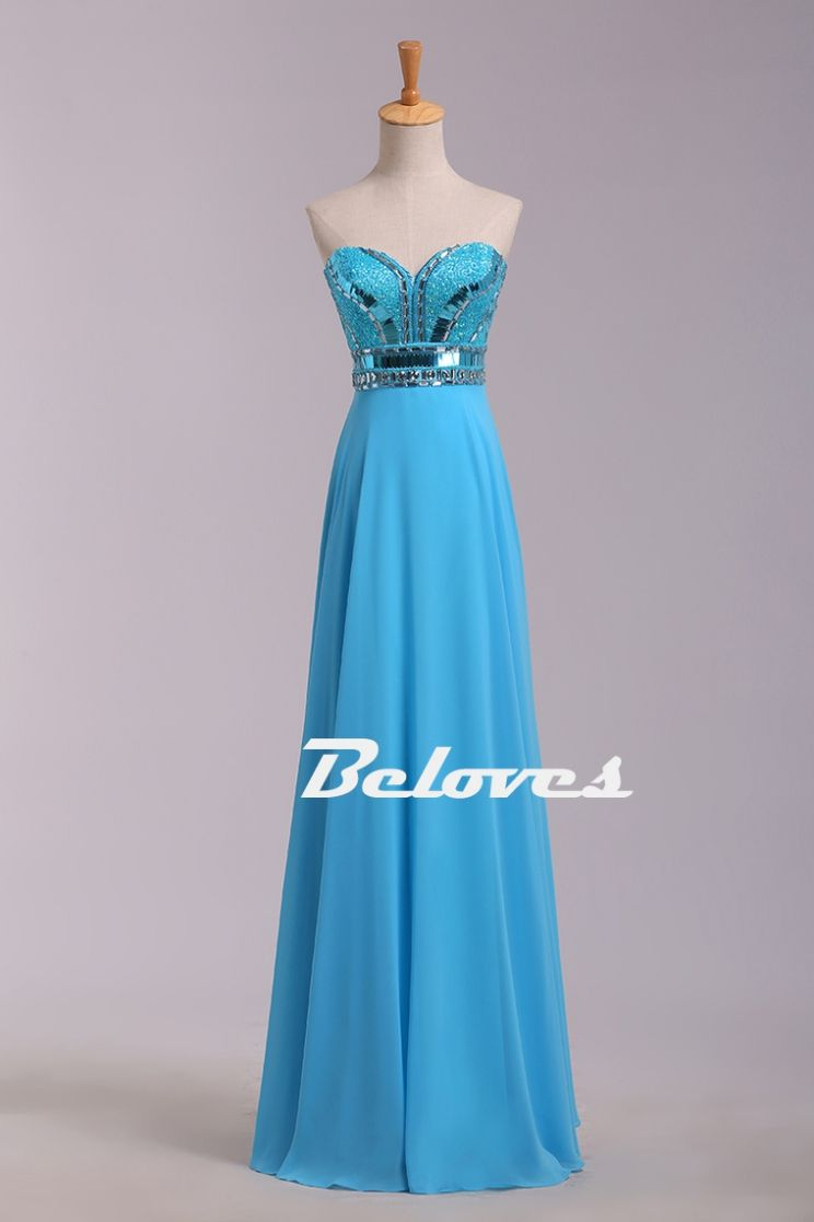 sky blue chiffon beaded sweetheart prom dress sold by hedwig