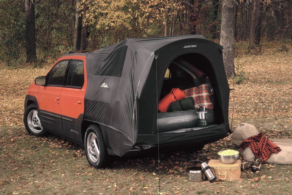 built in coolers tents and kitchenettes make these the best cars for camping pontiac aztek. Black Bedroom Furniture Sets. Home Design Ideas