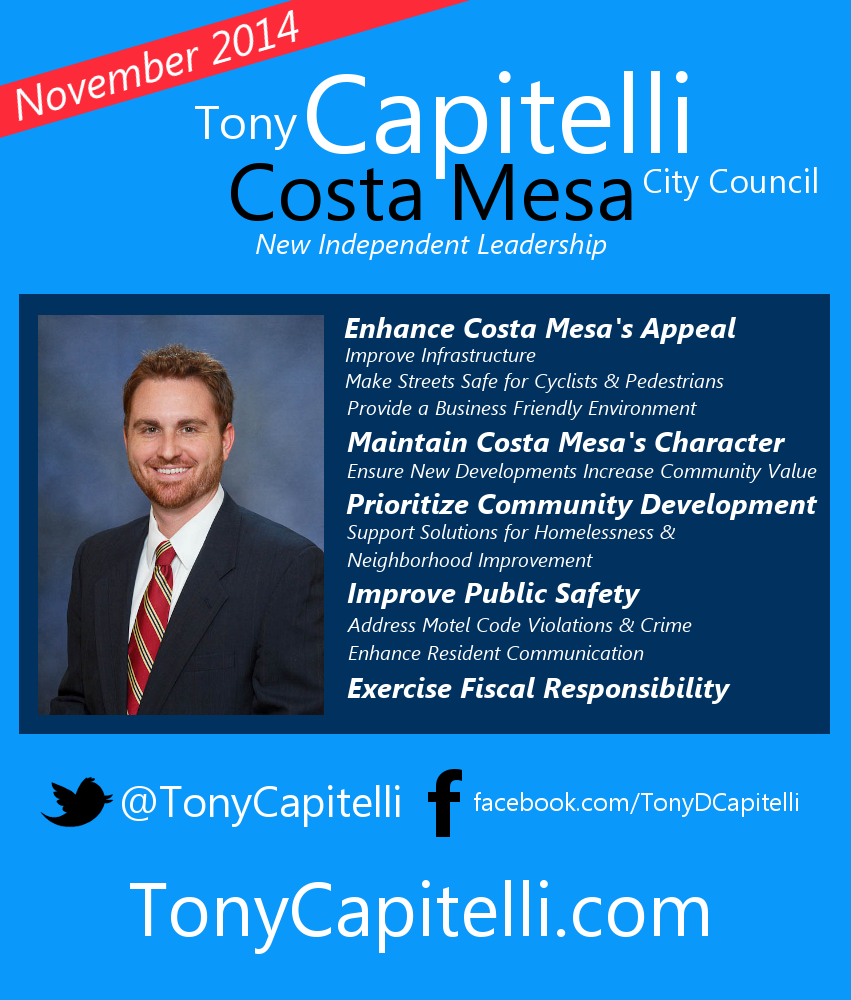 Capitelli For Costa Mesa City Council Campaign Flyer  Campaign