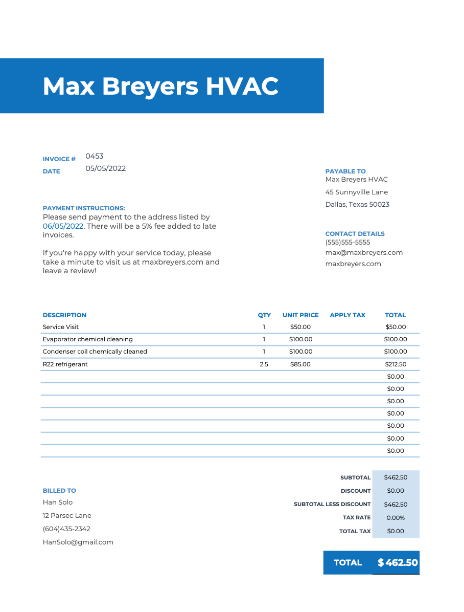 Hvac Invoice Templates Free Invoice Template Hvac Cleaning Business