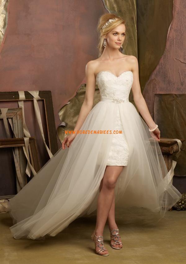 Robe de mariee courte devant avec traine