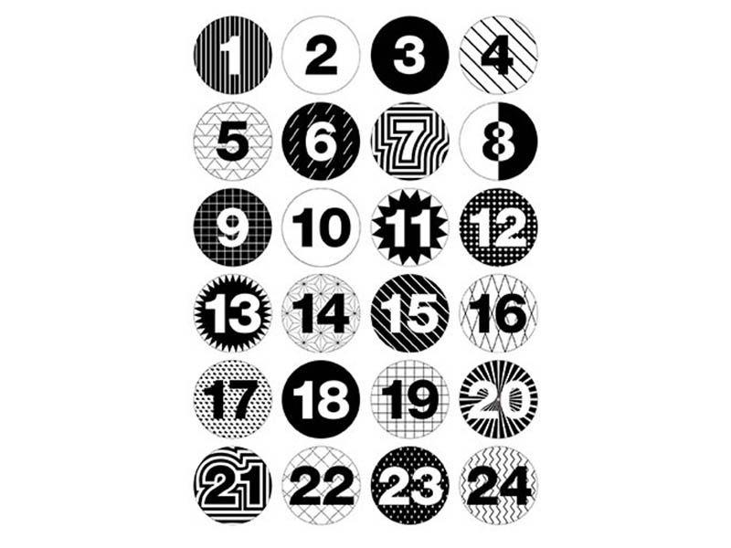 Badges pour calendrier de l'avent - Noir / Blanc - La petite épicerie #calendrierdelaventfaitmaisonenfant