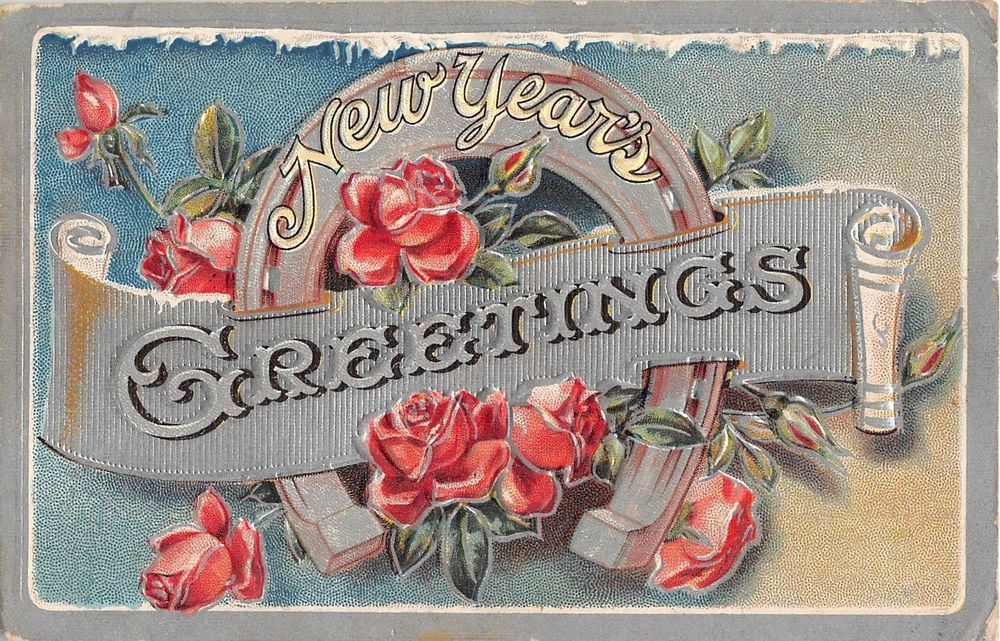 Horseshoe With Scroll & Pretty Pink Roses1911 New Year PC