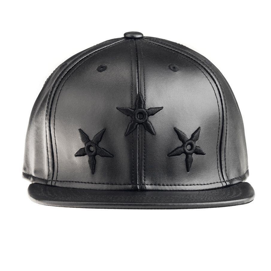 ad0893fb0ef Black ninja star leather strapback cap rocksmith strapback caps jpg 905x905  Ninja star snapback