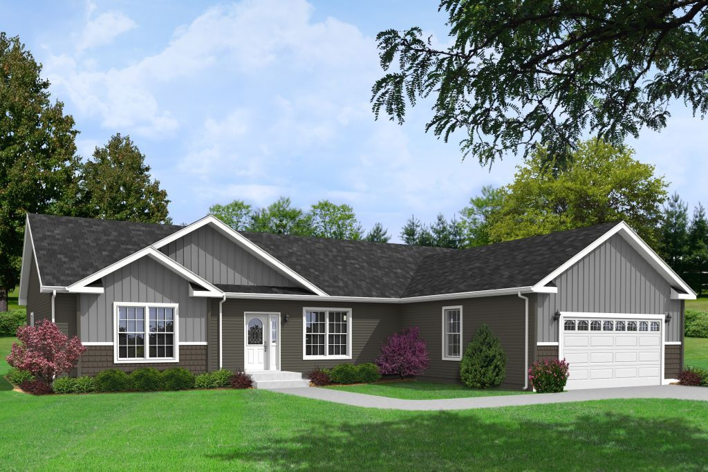 Commodore homes of indiana aurora elite aw455a aurora for Ranch house with garage