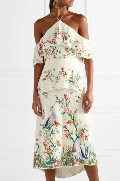 Golda Off-the-shoulder Embroidered Georgette Halterneck Midi Dress - Cream Alice & Olivia tK85n