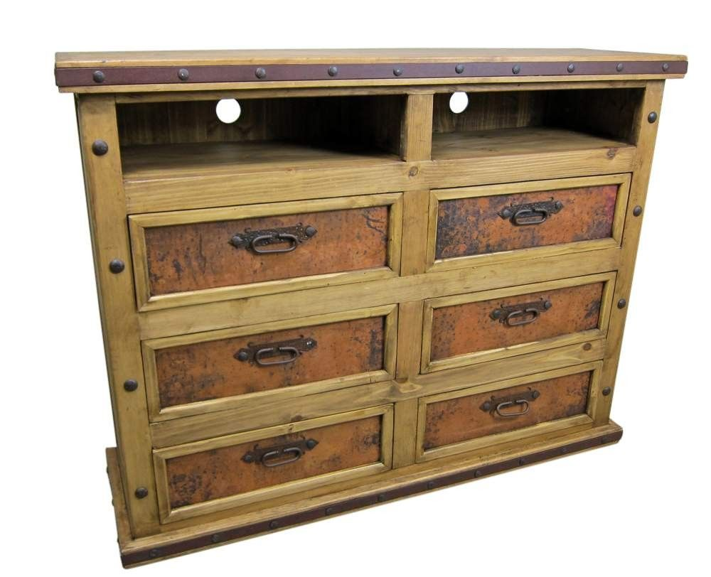 Finca Rustic Wood Dresser With Copper Panels And TV Opening | Rustic Pine Furniture  Made In