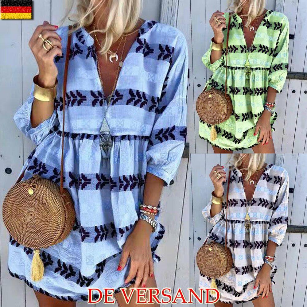 Damen Kaftan Minikleid Übergröße Boho Strandkleid Longshirt Tunika Leinenkleider