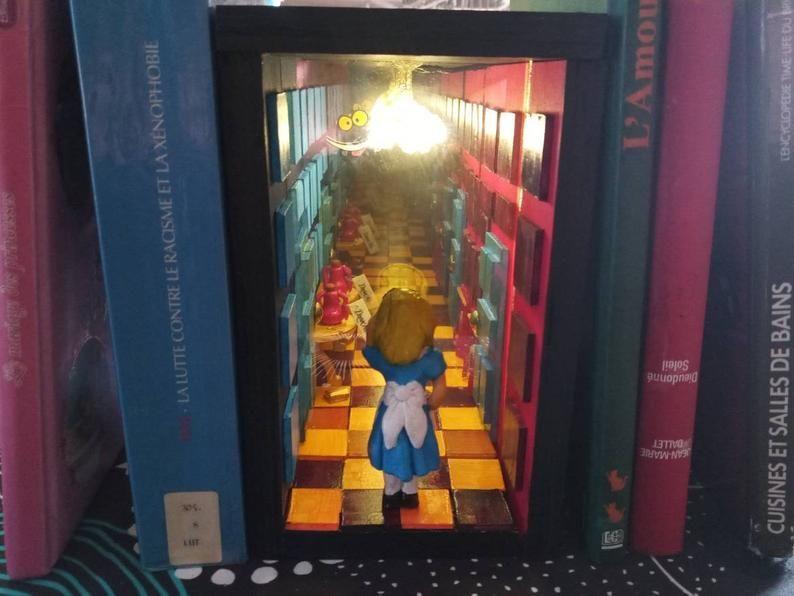 Book Nook Custom Made Etsy Bookshelf Art Book Nooks Book Art Sculptures