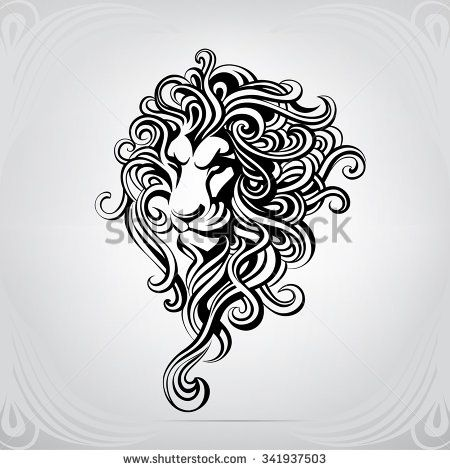 Silhouette Of The Head A Lion With Fantastic Mane