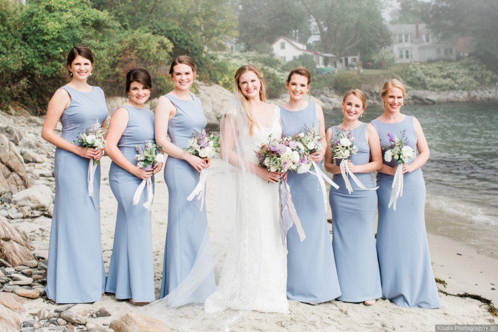 Brandon And Laura S Wedding In Portland Maine Dusty Blue Bridesmaid Dresses Blue Bridesmaid Dresses Bridesmaid Dresses