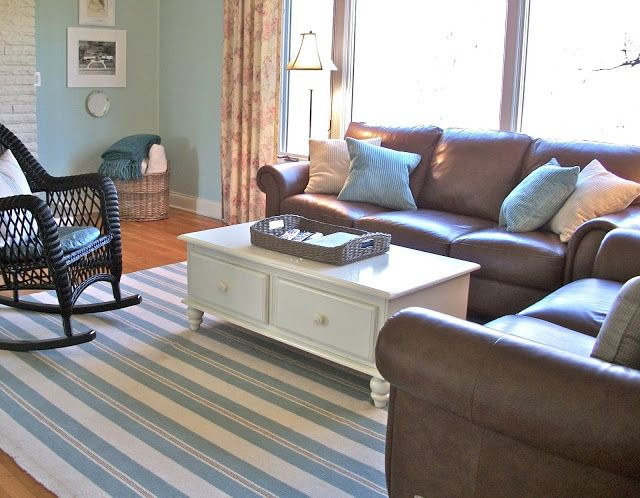 cottage style furniture living room with brown sofa | Charming Cottage Style ~ A Pocketful of Blue | Coastal ...