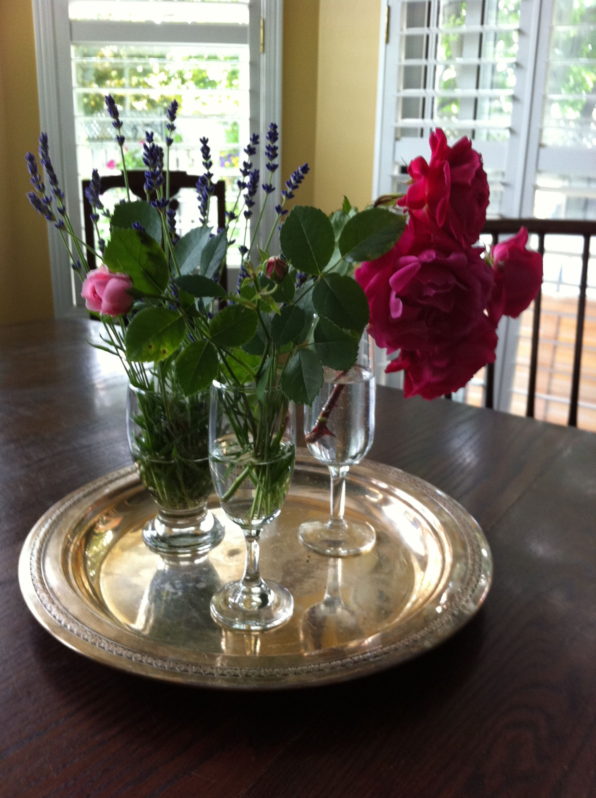 Garden flowers and silver tray centerpiece